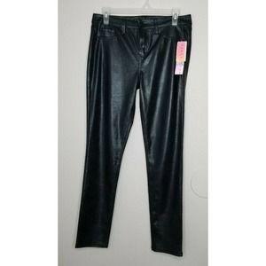 Tinseltown Denim Black Faux-Leather Skinny Pants